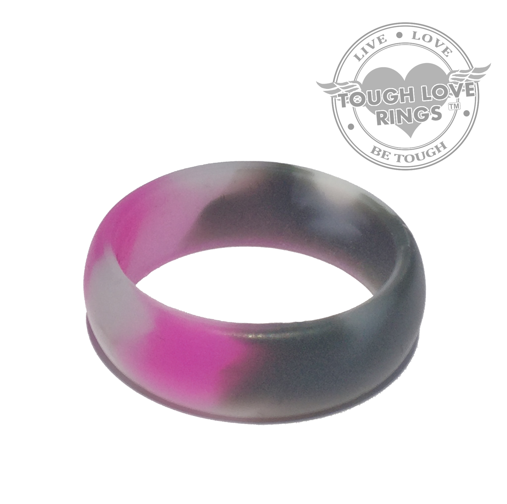TOUGH LOVE Thick band Pink CAMO - Premium Silicone Wedding Rings