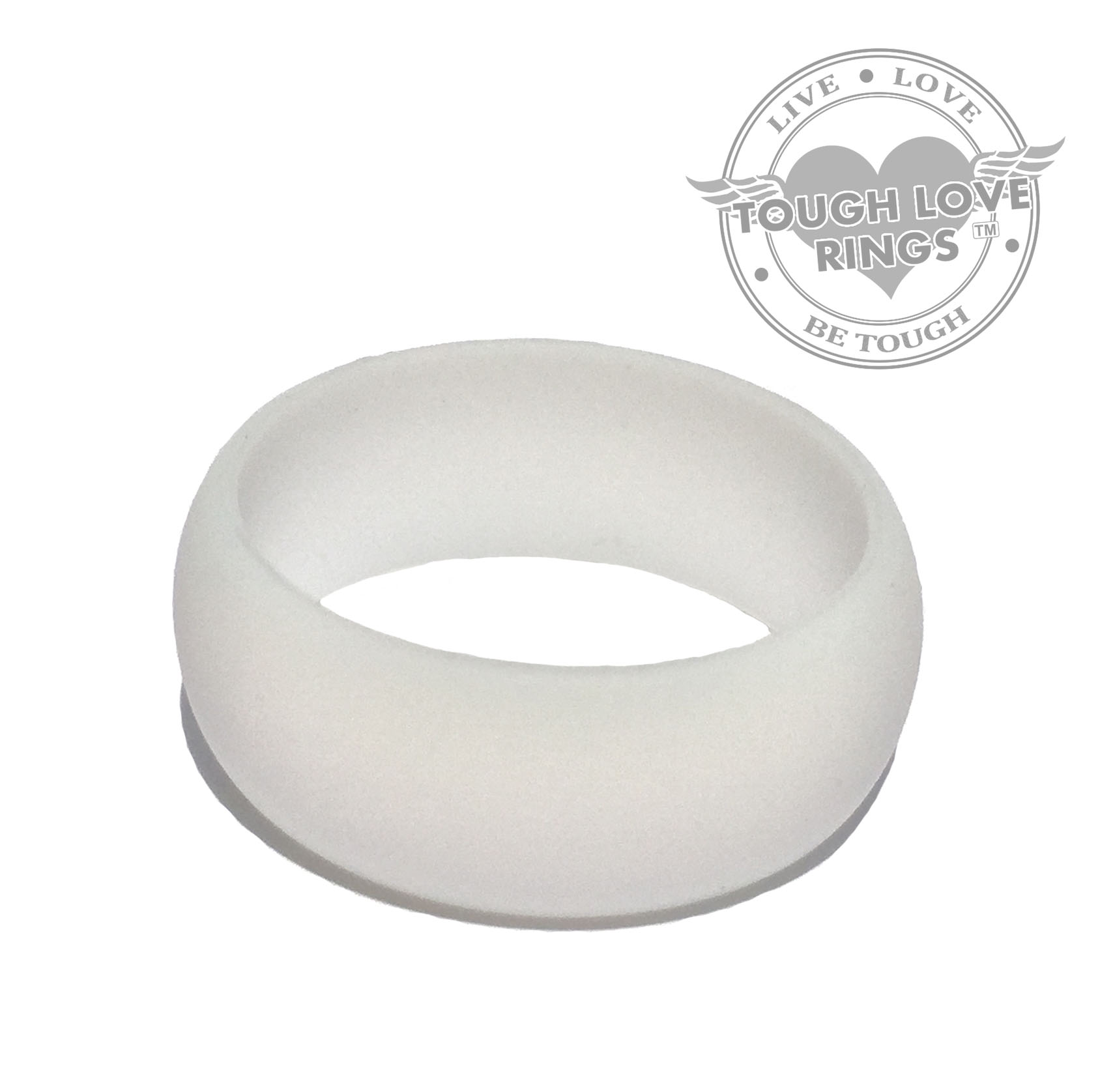 Solid WHITE Silicone Ring Wide band 8 7mm – Tough Love Rings