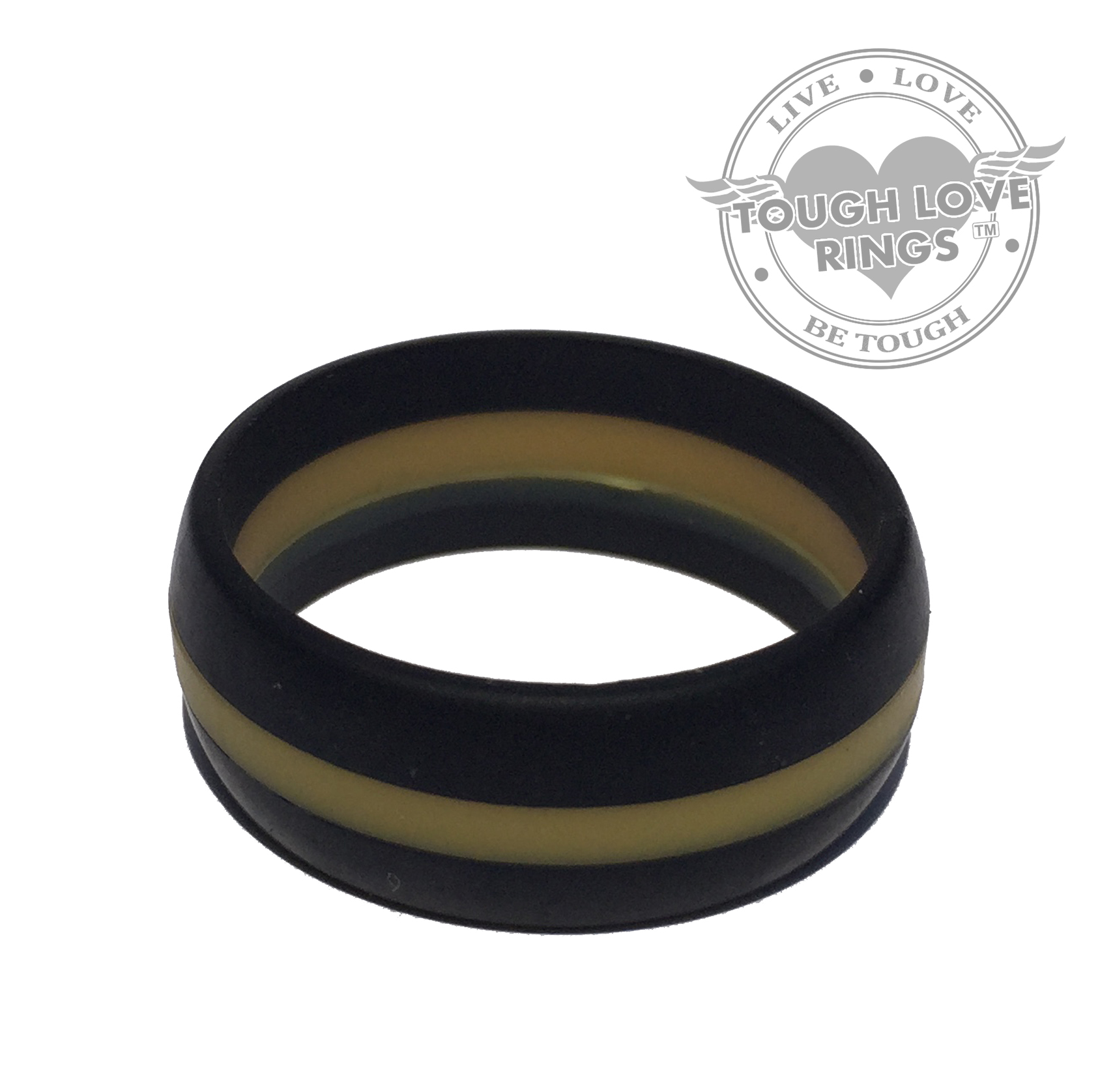 Striped BLACK GOLD LINE Silicone Ring Wide band 8 7mm – Tough