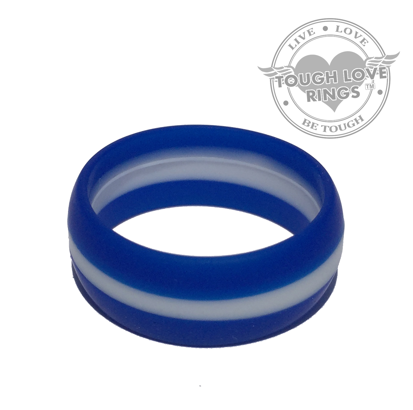 Striped Blue White Thin Line Silicone Ring Wide Band 8