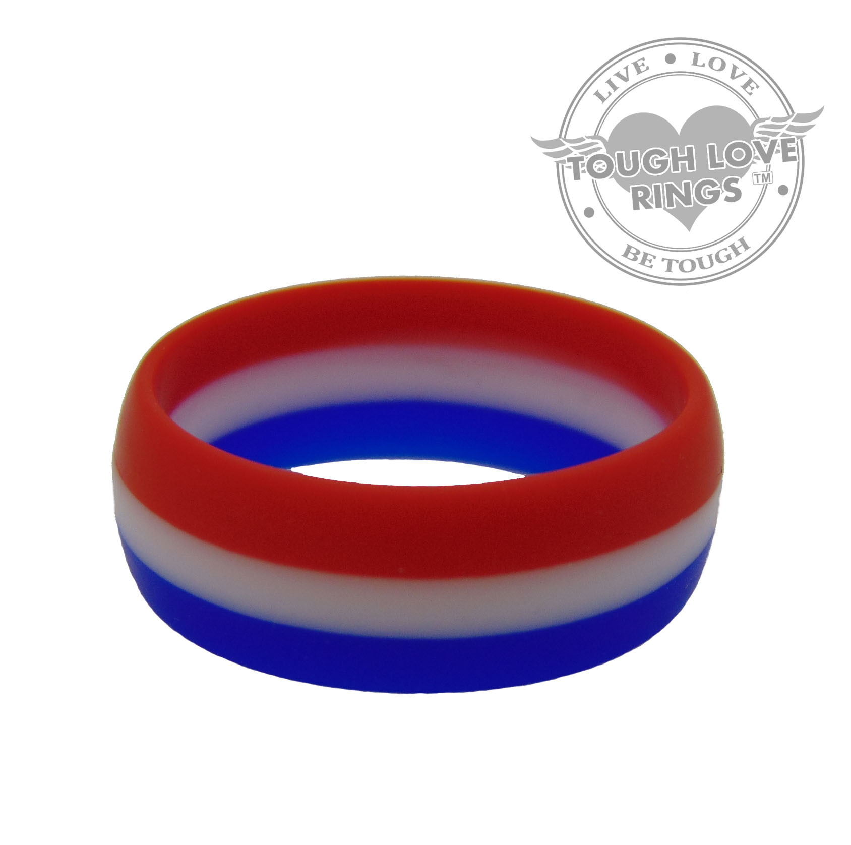 Striped Red White And Blue Silicone Ring Wide Band 8